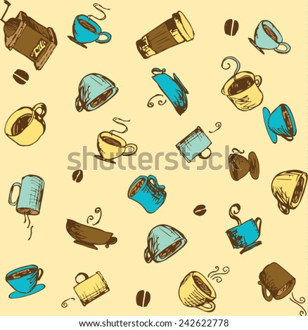 Hand-drawn Coffee and Accessories Sketchy Icons and Seamless Pattern - stock vector