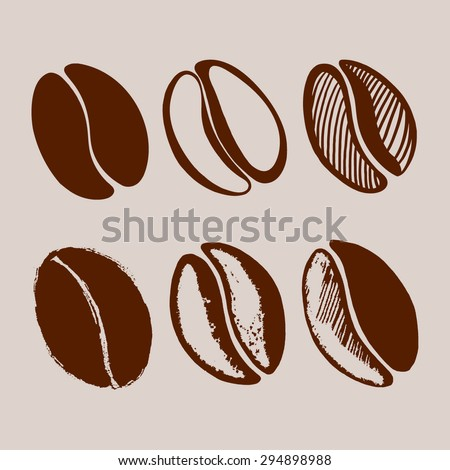 Hand drawn coffee beans. - stock vector