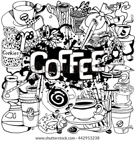 Hand Drawn Coffee Collage
