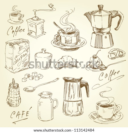 hand drawn coffee collection - stock vector