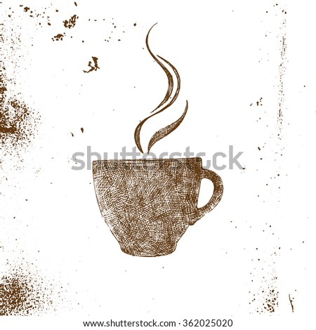 hand drawn coffee cup on white background - stock vector