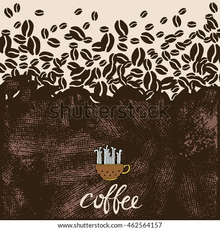 Hand Drawn Coffee illustration. Vector Type with Coffee Objects and texture.