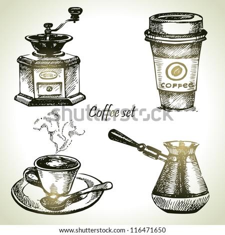 Hand drawn coffee set - stock vector