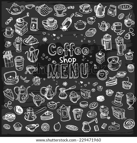 hand drawn coffee set on blackboard, vector illustration - stock vector