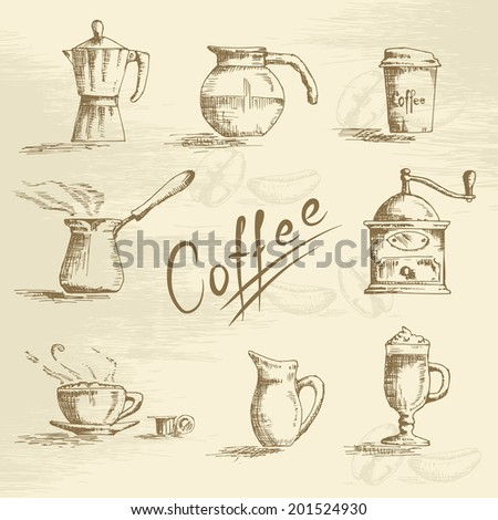 Hand drawn coffee sketch set. Vector - stock vector