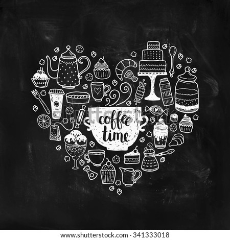 Hand drawn coffee time illustration, vector doodle set with teapots, glass, cupcake, decoration, tea, icecream, cup and sweets of a heart - stock vector
