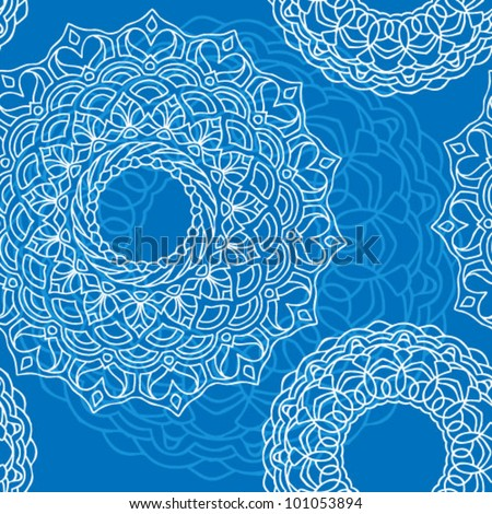 Hand Drawn Cold Tribal Seamless Background - stock vector