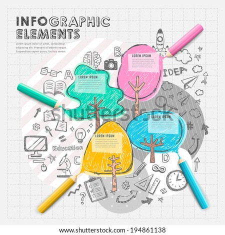 hand drawn collage style vector color pencil  infographic elements - stock vector