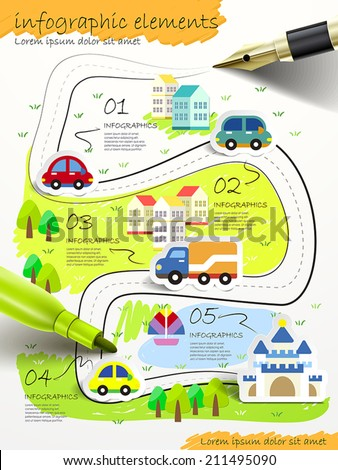 hand drawn collage style with fountain pen and color pen infographic - stock vector