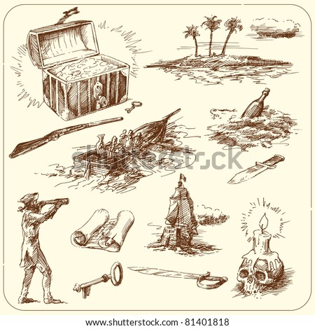 hand drawn collection - stock vector