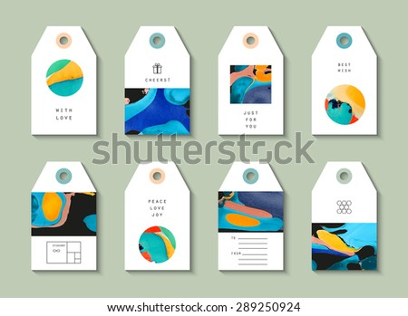 Hand drawn collection artistic Hang Tags with trendy geometric icons and logotypes. Wedding, marriage, bridal, birthday, Valentine's day. Isolated  - stock vector