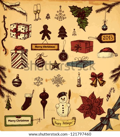 Hand drawn collection of Christmas related objects - stock vector
