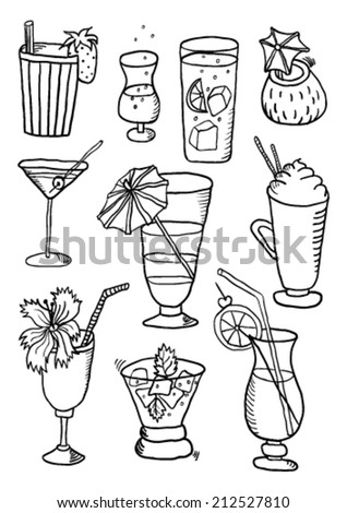 Hand Drawn Collection of Cocktails - stock vector