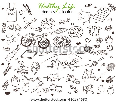 Hand-drawn collection of the healthy life doodles objects: bicycle, fruits and water, rollers, healthy food, weight, nature and  fresh air etc. Line art healthy life icons. - stock vector