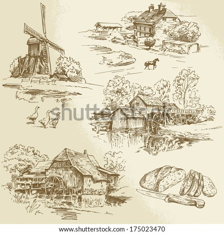 hand drawn collection of watermill and windmill - stock vector