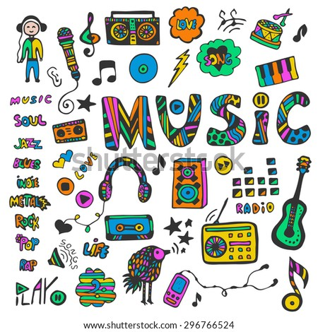 Hand-drawn collection with music doodles. Colorful music icons set. Hippie style. Vector illustration.