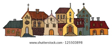 Hand Drawn color houses - stock vector