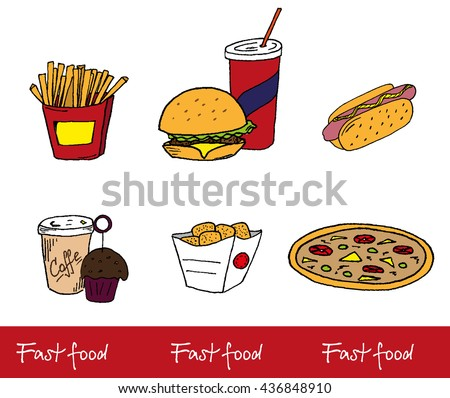 hand-drawn color icons fast food