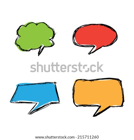 Hand drawn color speech bubbles - stock vector