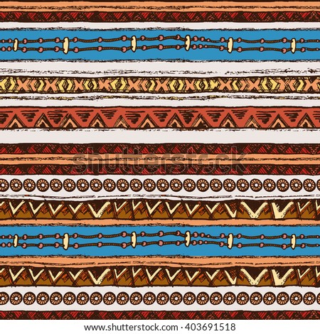 Hand drawn colored painted seamless pattern. Tribal bright ethnic seamless.  For invitation, web, textile, wallpaper, wrapping paper. Set of ink ethnic stripes