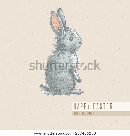 Hand drawn colored sketch of easter rabbit. Vector vintage line art illustration on texture paper.   - stock vector