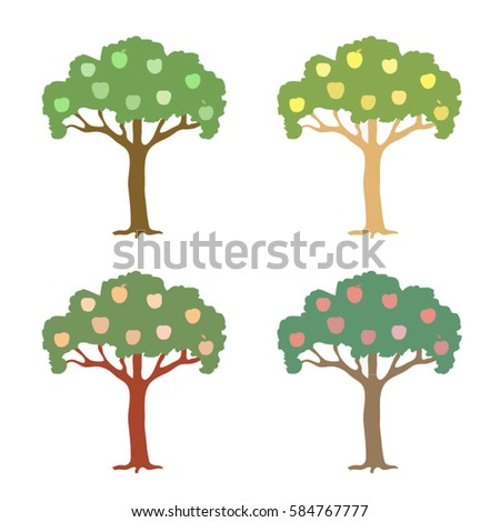 Hand-drawn colored vectors of apple-trees with yellow, green, pink and purple apples