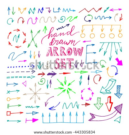 Hand drawn colorful arrows set on white background