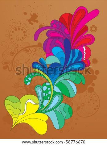 Hand drawn colorful design element. Vector illustration. CMYK gamut. - stock vector
