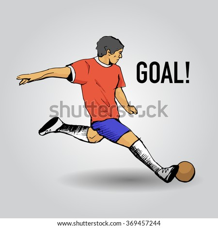 Hand drawn colorful footballer and Goal sign. Vector illustration
