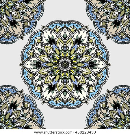 Hand drawn colorful mandala, ethnic design element. Lacy hand drawn pattern for textile, carpet, shawl, other surfaces. - stock vector