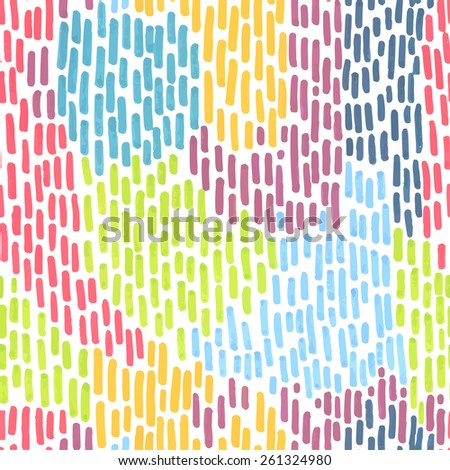 Hand-drawn colorful marker stroke pattern. Abstract line vector seamless texture background. - stock vector