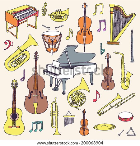 Hand drawn colorful musical instruments. Classical orchestra. Vector illustration.   - stock vector
