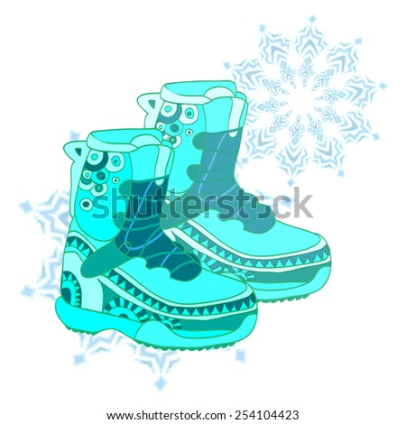 Hand drawn colorful ornamental snowboard shoes on abstract background with snowflake. Vector illustration.