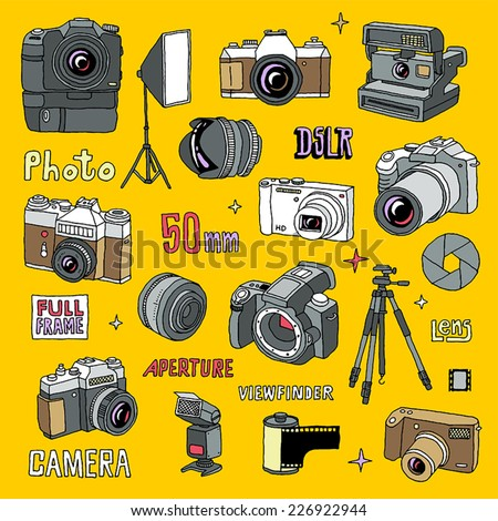 Hand drawn colorful photo cameras set 1. Vector illustration. - stock vector