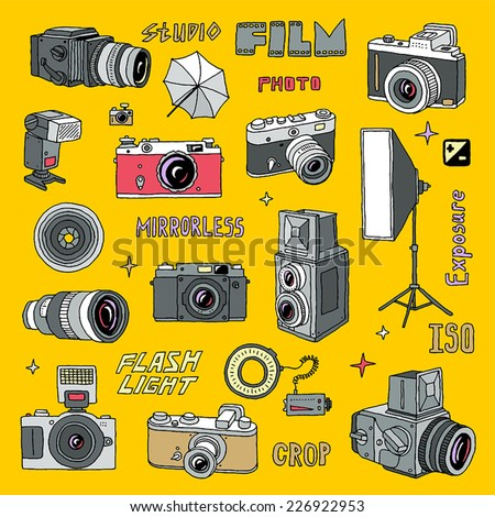 Hand drawn colorful photo cameras set 2. Vector illustration.