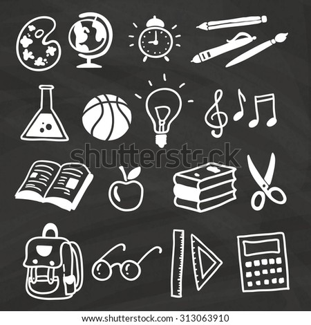 Hand-drawn colorful school items set on chalkboard. Back to School Vector icons.
