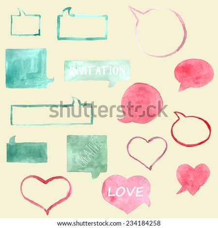 Hand drawn, colorful speech bubbles. - stock vector