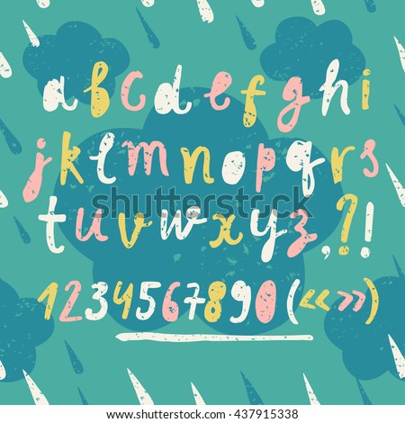Hand drawn colorful vector ABC letters set on decorative grungy background with clouds. Grungy textured childish font and figures for your design. - stock vector