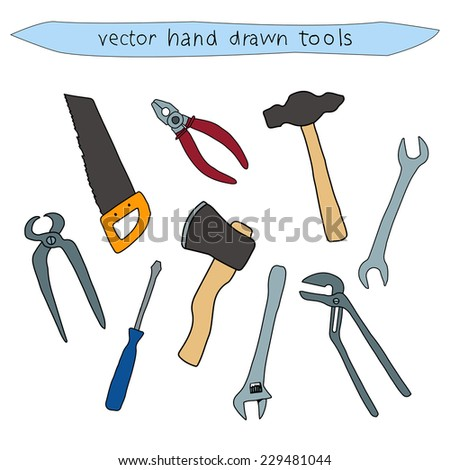Hand drawn colorful vector household tool set of a hammer, ax, saw, screwdriver, pliers and wrench isolated on white  - stock vector