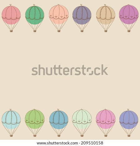 hand drawn colorful vintage air balloons arranged in lines background, with empty space for your text here, in pastel colors