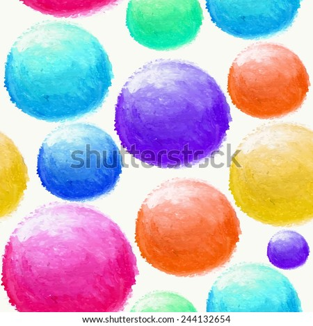 Hand drawn colorful watercolor balls seamless pattern background. Ideal for fabric, wrapping paper and cover. EPS10 vector file organized in layers for easy editing. - stock vector