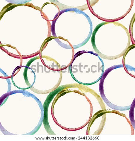 Hand drawn colorful watercolor circles stain art seamless pattern background. Ideal for fabric, wrapping paper and cover. EPS10 vector file organized in layers for easy editing. - stock vector