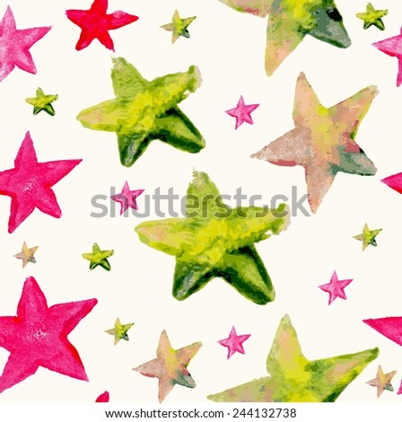 Hand drawn colorful watercolor star seamless pattern background. Ideal for fabric, wrapping paper and cover. EPS10 vector file organized in layers for easy editing.
