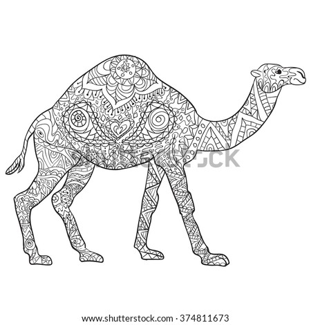 Hand Drawn Coloring Pages With Camel Zentangle Illustration For Adult Anti Stress Books Or