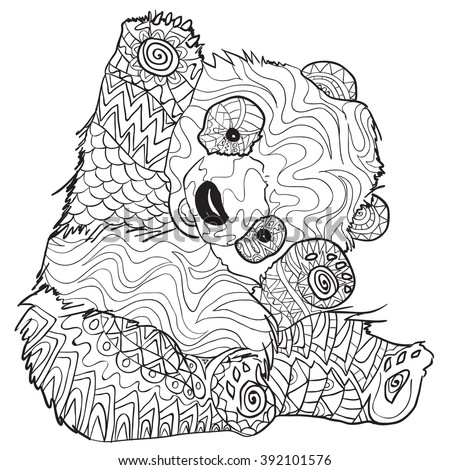 Hand Drawn Coloring Pages Panda Illustration Stock Vector (Royalty ...