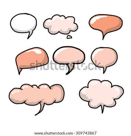 hand drawn comic speech bubbles set. funny art banner collection
