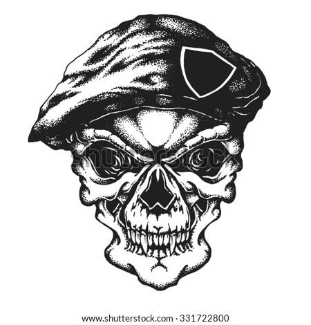 Hand drawn commando skull in beret. Vector illustration - stock vector