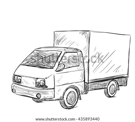 Hand drawn commercial car. Delivery service poster