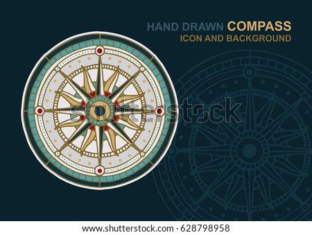 Hand drawn compass icon and background. Wind rose.