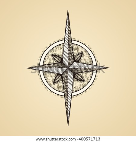 Hand drawn compass wind rose symbol. Vector traveller tool. Vintage illustration